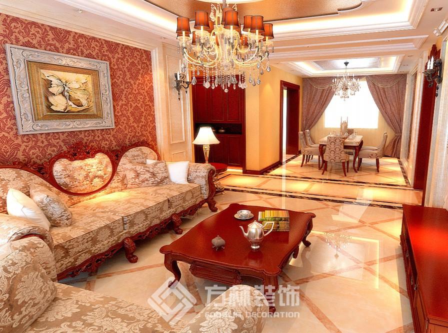 本案客厅的家具选用了红木家具